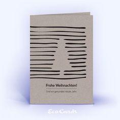 Eco Weihnachtskarten Nr. 203 grau mit Weihnachtsbaum zeigen ein grafisches Design