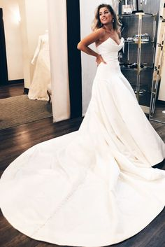 Simply Elegant Ivory Long Wedding Dress with Cathedral Train