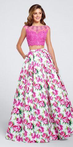 Ellie Wilde Print Prom Dress EW117035