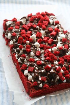 red velvet rockslide brownie recipe.. These look beautiful and I am sure the taste delicious.