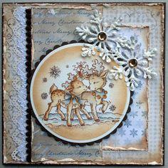 Annes lille hobbykrok: Stampavie, Dearest Deer, Christmas card, Distress Ink