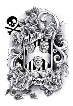A commission for Ryan. His family crest with flowers - half sleeve type of design. don't use this design, contact me if you wanna get a custom tattoo design. Lions outlines are by: Arxontisa Diy Tattoo, Custom Tattoo, Baby Tattoos, Cool Tattoos, Tatoos, Family Crest Tattoo, Shield Tattoo, Brother Tattoos, Sugar Skull Design