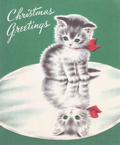 Christmas Greetings kitten [inside card: Merry Christmas and may the New Year reflect its happiness]
