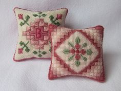 2 Canvas work embroidery patterns for pincushions PDF by Lynlubell