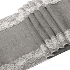 Burlap-Table-Runner-Gray-with-US $15.95 Lace-12-034-x-108-034-Shabby-Chic-Decor-Wedding-Party