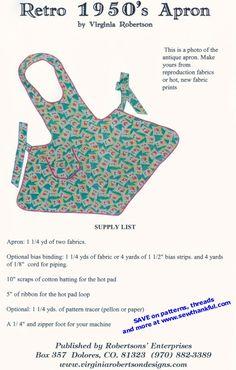 Free Printable Sewing Patterns | VINTAGE APRON SEWING PATTERNS | Browse Patterns
