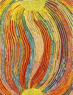 Jean Burke, Ngayuku Ngura (My Country), acrylic on canvas, 125 x 95 cm. (Courtesy the artist, Agathon Gallery and the Corrigan Collection). Aboriginal Painting, Aboriginal Artists, Indigenous Australian Art, Indigenous Art, Sand Painting, Arte Popular, Native Art, Installation Art, Adam Reid