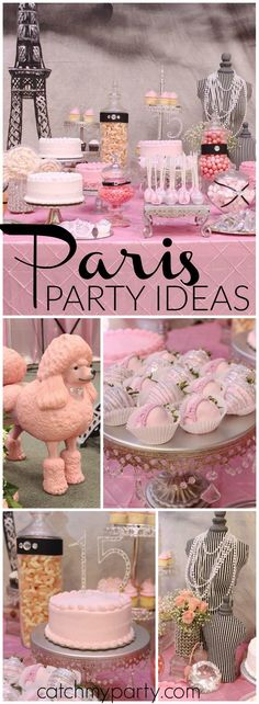 How pretty is this pink and black Paris birthday party?! See more party ideas at Catchmyparty.com!