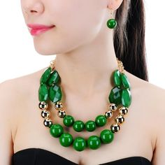 Item Type: Jewelry Sets Fine or Fashion: Fashion Estimated Delivery Time:12-20days Occasion: Party Shape\pattern: Round Style: Trendy Material: Resin Gender: Women Jewelry Sets Type: Necklace/Earrings Included Additional Item Description: 1 necklace, 1 pair earrings Metals Type: Alloy is_customized: Yes Quality: High Color: 6 colors Delivery: Fast Weight : 150g