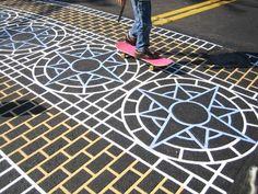 Kudos to the kids at West Seattle's Lafayette Elementary School for this triumph of street-level urban design and a pat on the back to Denni. Paving Pattern, Roads And Streets, Zebra Crossing, West Seattle, Ponds Backyard, Environmental Graphics, Public Art, Street Art, Creative