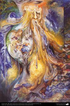 El eterno viaje. 1989 , Obras maestras de la miniatura persa; Artista Profesor Mahmud Farshchian, Irán | Galería de Arte Islámico y Fotografía