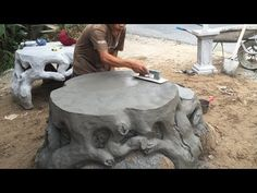 Construction Project Creative With Sand And Cement - Build A Concrete Table, Skill Working Concrete Table Top, Concrete Light, Diy Concrete Planters, Cement Art, Concrete Forms, Concrete Cement, Concrete Crafts, Concrete Garden, Concrete Projects