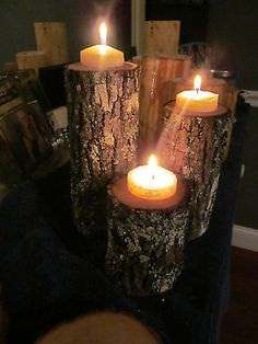 Set 7 Tree Candle Holders Rustic Weddings Country Decor Cabins Western Limb Pine