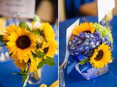 yellow and blue sunflower centerpieces