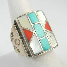 Old Pawn Navajo Sterling Silver Turquoise Coral Mother Pearl Inlay Ring 10 │RS I Coral Turquoise, Mother Pearl, Navajo, Baby Items, Cuff Bracelets, Pearls, Sterling Silver, Rings, Stuff To Buy