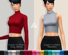 Cropped Turtlenecks for TS4 ladiesIt's just basic cropped tops as you can see. Both has same 17 colors. Download on HERE!