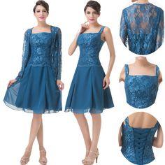 2pcs Set Vintage Style Mother Of Bride Dress Lace Chiffon Evening Cocktail Dress #GraceKarin #BallGown #Formal