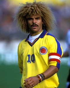 "Born Colombian Midfielder player known as member of the and the Valderrama is one of the most recognizable around the globe and was included in the a list of the ""greatest living Footballers"". Legends Football, Football Icon, Retro Football, Football Soccer, Football Players, Carlos Valderrama, Fifa 100, Colombia Soccer, Cristiano Ronaldo Lionel Messi"