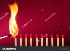 Burning Match Setting Fire To Its Neighbors, A Metaphor For Ideas And Inspiration Стоковые фотографии 135091277 : Shutterstock