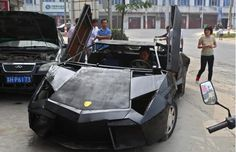 Not sure how I feel about this.... Incredible home-made Lamborghini A young Chinese farmer named Wang Jian has taken apart a second-hand Nissan and Santana and rebuilt them into a replica of Lamborghini Reventon that can reach speeds of up to 160 mph...