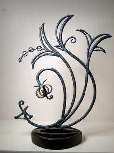 sculptures for the home | Handcrafted Decorative Metal Flower Sculpture, Elegant Table Art.