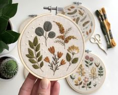 "Fall inspired 4"" embroidery hoop, cross stitch, botanical embroidery"