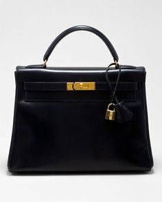 So cute!!!  Hermes Navy Box Leather Kelly 32cm