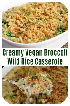 Creamy Vegan Broccoli Wild Rice Casserole is the perfect side dish. This recipe is vegan and gluten free. It is a crowd pleaser and is perfect for Christmas!