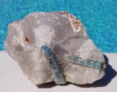 Aquamarine in a Crystal Matrix (CR-MFR017) $49US/OBO #aquamarine #crystal #matrix #uniquegift #rockhound #specimen #myfavoriterock