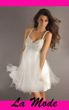 Short Beaded White Prom Dress via La Mode. Click on the image to see more!