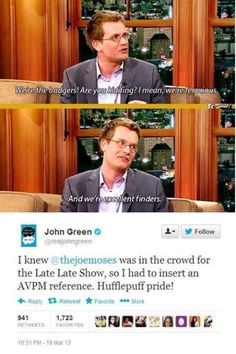 JOHN GREEN LOVES AVPM???? I just can't... I really can't. Didn't know if I should put this in Nerdfighteria or STARKID. Like and Repin. Thx Noelito Flow. http://www.instagram.com/noelitoflow
