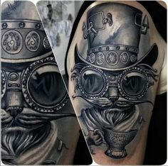 Awesome Steampunk Cat Tattoo