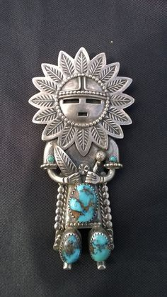 Vintage Navajo Sterling Silver &Turquoise kachina Bolo Tie Medallion Sgnd. JR