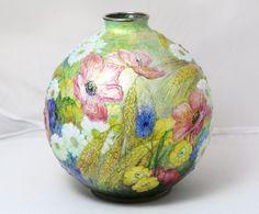 RARE Camille Fauré Limoges Enamel Copper Silver Vase w/ High Relief Flowers