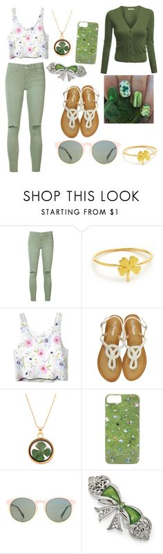 the luck of the Irish look by idc-rachell on Polyvore featuring Doublju, Joe's Jeans, Jennifer Meyer Jewelry, HOOK LDN, Gray Malin and 1928