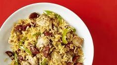 Chicken and chorizo rice recipe - BBC Food Chorizo Rice, Chicken Chorizo, Chicken Lunch Recipes, Recipe Chicken, Healthy Chicken, One Pot Vegetarian, Vegetarian Recipes, Cooking Recipes, Vegetable Casserole