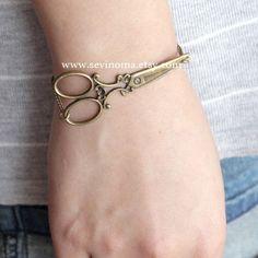 antique brass victorian scissors bracelet, on sale. $4.99, via Etsy.