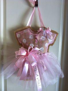 Baby burlap door hanger. $39.00, via Etsy.