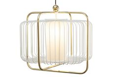 Colored metal and brass/copper suspension lamp JULES I - Mambo Unlimited Ideas