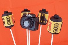 Photography School ~ Graduation Party. Camera cake pops