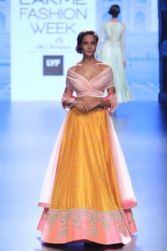 One of the best looking pre-wedding lehengas by Anushree Reddy. This blush pink orange-yellow lehenga is perfect for the summers #LFW #LIFW2016 #Frugal2Fab