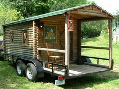 Log Cabin on Wheels with Covered Porch For Sale ($3,500)