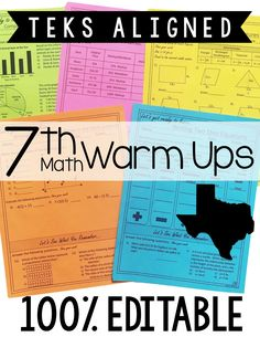 "·         These TEKS Aligned warm ups are perfect for my 7th grade math students. This is such an easy no-prep worksheet to start each day with. I love that the worksheets are aligned to the TEKS and that they ""warm up"" my students to learn. These will be such a time saver!"