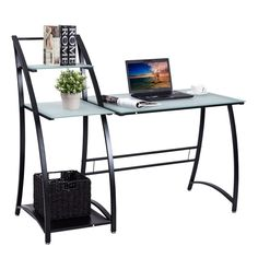 Computer Desk PC Laptop Table Glass Top Writing Study Workstation with Shelves for sale online Computer Desk With Shelves, Home Office Computer Desk, Computer Desk Chair, Pc Desk, Laptop Table, Desk Shelves, Home Office Furniture, Top Computer, Computer Workstation