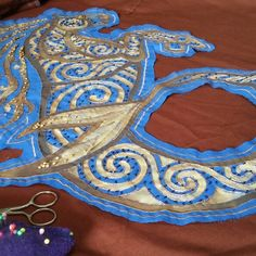 Almost finish the kelpie embroidery from a custom order of this style!