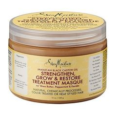 SHEA MOISTURE JAMAICAN BLACK CASTOR OIL STRENGTHEN GROW & RESTORE TREATMENT MASQUE 12OZ with Shea Butter, Peppermint & Keratin Shea Moisture's JBCO deep conditioning masque restores strength and resil