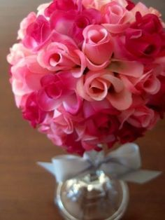 Rose topiary made with fake roses. Display in a candle holder. Easy Valentine's Day decoration and craft.