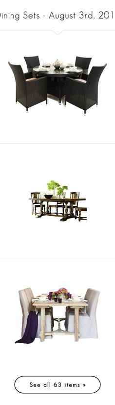 """""""Dining Sets - August 3rd, 2014"""" by lynnspinterest ❤ liked on Polyvore featuring home, outdoors, patio furniture, outdoor patio sets, round dining table set, round table chairs, round outdoor furniture, round table and chairs, rattan garden furniture and furniture"""