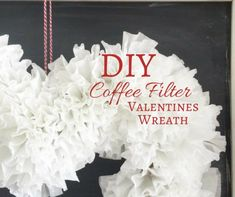 This DIY coffee filter Valentines wreath is the perfect addition to your home this year. It is so easy to make and adds a special touch. Diy Valentines Cards, Valentine Wreath, Valentines Day Decorations, Valentines For Kids, Valentine Day Crafts, Coffee Filter Wreath, Diy Wreath, Wreaths, Coffee Filters