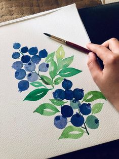 This is an original watercolor painting of blueberries, hand painted by me, the artist. It is NOT a copy or a print, you Watercolor Fruit, Watercolor Art Paintings, Watercolor Flowers, Watercolor Paper, Watercolor Portraits, Watercolor Landscape, Abstract Paintings, Watercolor Artists, Oil Paintings